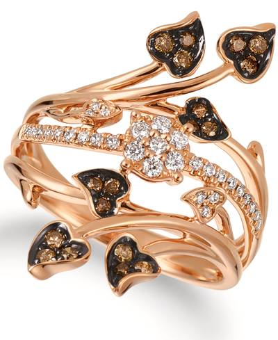 14K Strawberry Gold® Ring with Vanilla Diamonds® 1/6 cts., Chocolate Diamonds® 1/5 cts. | WATA 30