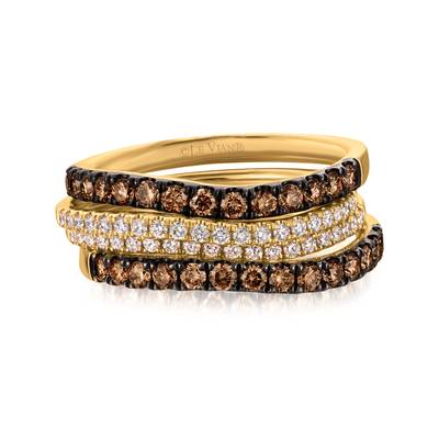 14K Honey Gold™ Ring with Chocolate Diamonds® 5/8 cts., Vanilla Diamonds® 1/4 cts. | WATD 3
