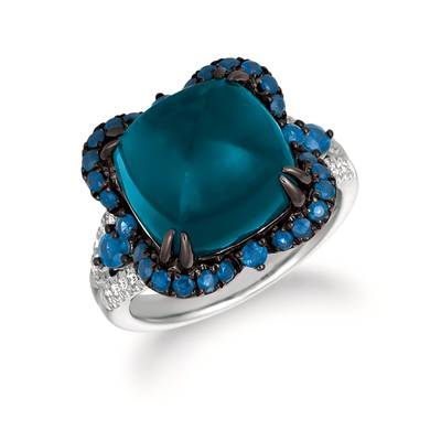 14K Vanilla Gold® Deep Sea Blue Topaz™ 7  1/2 cts., Blueberry Sapphire™ 3/4 cts. Ring with Vanilla Diamonds® 1/8 cts. | WATL 14
