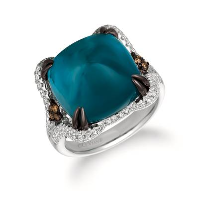 14K Vanilla Gold® Deep Sea Blue Topaz™ 12 1/2 cts. Ring with Vanilla Diamonds® 1/3 cts., Chocolate Diamonds® 1/20 cts. | WATL 15