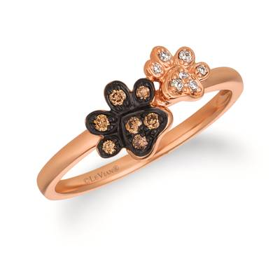 14K Strawberry Gold® Ring with Chocolate Diamonds® 1/20 cts., Vanilla Diamonds®  cts. | WATL 21