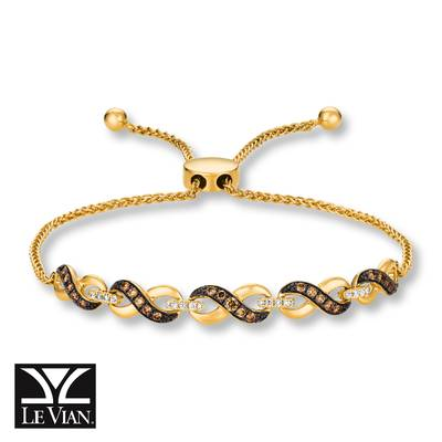 14K Honey Gold™ Bolo Bracelet with Chocolate Diamonds® 1/3 cts., Vanilla Diamonds® 1/10 cts. | WATL 23