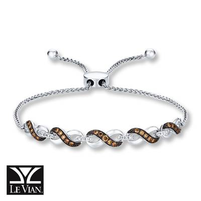 14K Vanilla Gold® Bolo Bracelet with Chocolate Diamonds® 1/3 cts., Vanilla Diamonds® 1/10 cts. | WATL 24