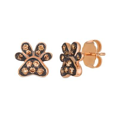 14K Strawberry Gold® Earrings with Chocolate Diamonds® 1/5 cts. | WATL 45