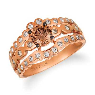 14K Strawberry Gold® Ring with Chocolate Diamonds® 3/4 cts., Vanilla Diamonds® 1/5 cts. | WATL 47