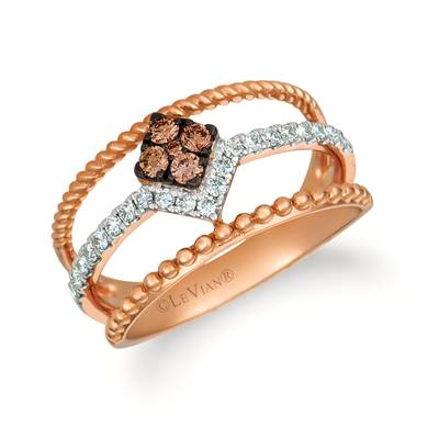 14K Strawberry Gold® Ring with Chocolate Diamonds® 1/8 cts., Vanilla Diamonds® 1/5 cts. | WATL 72