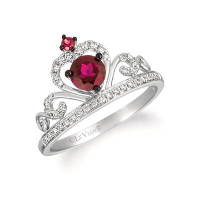 14K Vanilla Gold® Raspberry Rhodolite® 5/8 cts. Ring with Vanilla Diamonds® 1/6 cts. | WATL 77