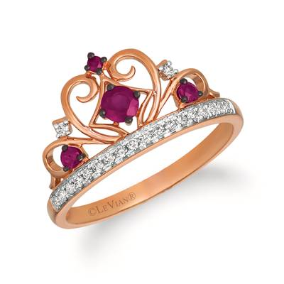 14K Strawberry Gold® Passion Ruby™ 1/4 cts. Ring with Vanilla Diamonds® 1/8 cts. | WATL 81