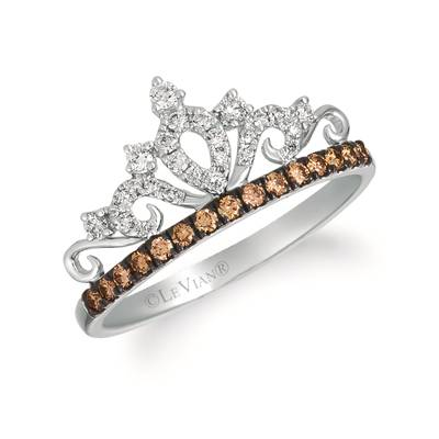 14K Vanilla Gold® Ring with Vanilla Diamonds® 1/6 cts., Chocolate Diamonds® 1/6 cts. | WATL 82