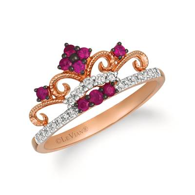 14K Strawberry Gold® Passion Ruby™ 1/5 cts. Ring with Vanilla Diamonds® 1/8 cts. | WATL 83