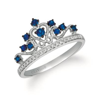 14K Vanilla Gold® Blueberry Sapphire™ 1/5 cts. Ring with Vanilla Diamonds® 1/15 cts. | WATL 84