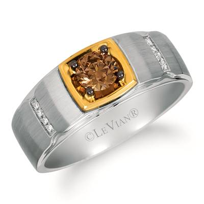 14K Two Tone Gold Ring with Chocolate Diamonds® 1/2 cts., Vanilla Diamonds®  cts. | WATM 1