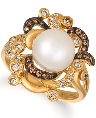 14K Honey Gold™ Vanilla Pearls™  cts. Ring with Chocolate Diamonds® 1/5 cts., Vanilla Diamonds® 1/5 cts. | WATN 12