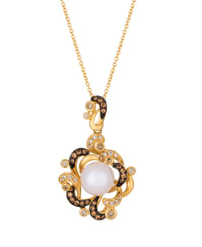 14K Honey Gold™ Vanilla Pearls™  cts. Pendant with Vanilla Diamonds® 3/4 cts., Chocolate Diamonds® 1/4 cts. | WATN 13