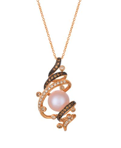 14K Strawberry Gold® Strawberry Pearls®  cts. Pendant with Chocolate Diamonds® 1/5 cts., Vanilla Diamonds® 1/5 cts. | WATN 18