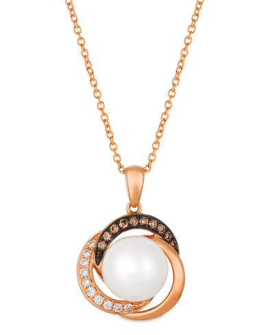 14K Strawberry Gold® Vanilla Pearls™  cts. Pendant with Chocolate Diamonds® 1/15 cts., Vanilla Diamonds® 1/15 cts. | WATN 3