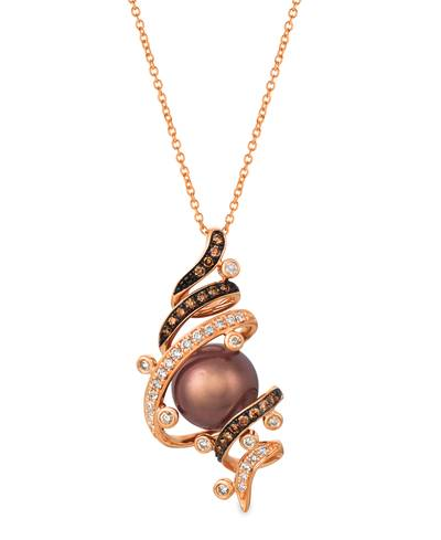 14K Strawberry Gold® Chocolate Pearls®  cts. Pendant with Chocolate Diamonds® 1/5 cts., Vanilla Diamonds® 1/5 cts. | WATN 30