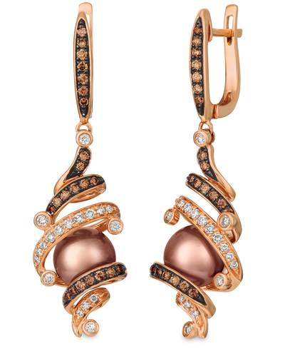 14K Strawberry Gold® Chocolate Pearls®  cts. Earrings with Chocolate Diamonds® 1/2 cts., Vanilla Diamonds® 1/4 cts. | WATN 31