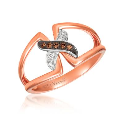 14K Two Tone Gold Ring with Chocolate Diamonds® 1/20 cts., Vanilla Diamonds®  cts. | WATQ 30