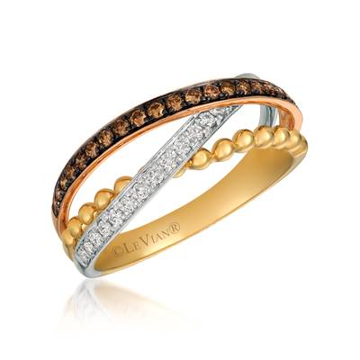 14K Tri Color Gold Ring with Chocolate Diamonds® 1/6 cts., Vanilla Diamonds® 1/6 cts. | WATQ 6