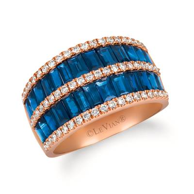 14K Strawberry Gold® Blueberry Sapphire™ 2  5/8 cts. Ring with Vanilla Diamonds® 3/8 cts. | WATV 47
