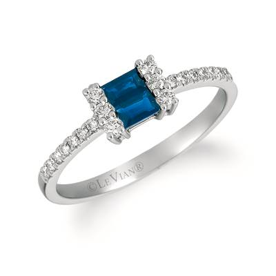 14K Vanilla Gold® Blueberry Sapphire™ 1/5 cts. Ring with Vanilla Diamonds® 1/6 cts. | WATV 59