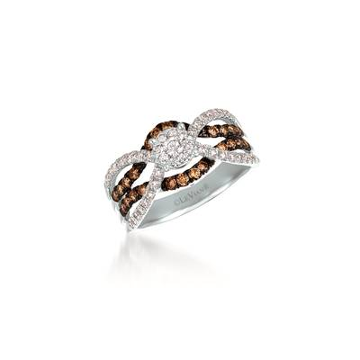14K Vanilla Gold® Ring with Vanilla Diamonds® 3/8 cts., Chocolate Diamonds® 1/3 cts. | WATV 70