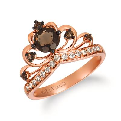 14K Strawberry Gold® Chocolate Quartz® 7/8 cts. Ring with Nude Diamonds 1/5 cts. | WATV 78