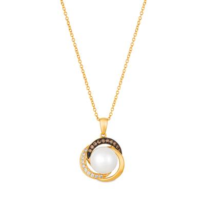 14K Honey Gold™ Vanilla Pearls™  cts. Pendant with Chocolate Diamonds® 1/15 cts., Vanilla Diamonds® 1/15 cts. | WATX 8