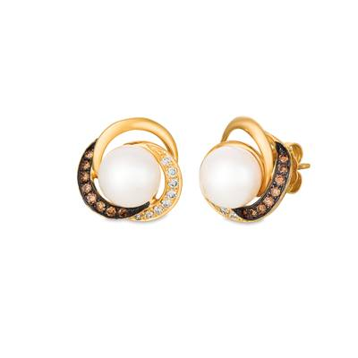 14K Honey Gold™ Vanilla Pearls™  cts. Earrings with Chocolate Diamonds® 1/8 cts., Vanilla Diamonds® 1/8 cts. | WATX 9