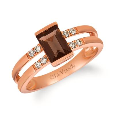 14K Strawberry Gold® Chocolate Quartz® 3/4 cts. Ring with Nude Diamonds™ 1/10 cts. | WAUC 1