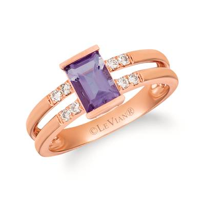 14K Strawberry Gold® Grape Amethyst™ 5/8 cts. Ring with Nude Diamonds™ 1/10 cts. | WAUC 33