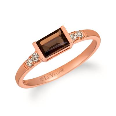 14K Strawberry Gold® Chocolate Quartz® 3/8 cts. Ring with Nude Diamonds™ 1/20 cts. | WAUC 4