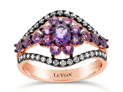 14K Strawberry Gold® Grape Amethyst™ 7/8 cts. Ring with Chocolate Diamonds® 1/3 cts. | WAUE 3