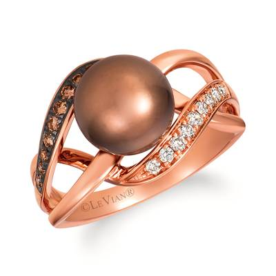 14K Strawberry Gold® Chocolate Pearls®  cts. Ring with Chocolate Diamonds® 1/10 cts., Nude Diamonds™ 1/10 cts. | WAUG 10