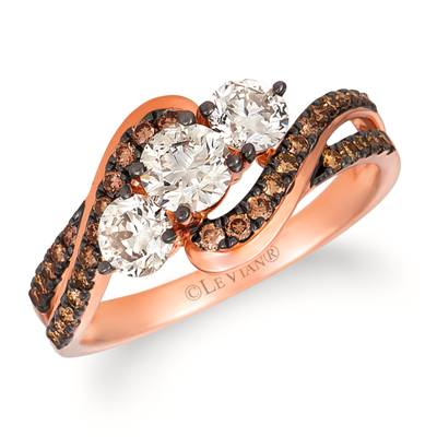 14K Strawberry Gold® Ring with Nude Diamonds™ 3/4 cts., Chocolate Diamonds® 1/4 cts. | WAUG 16