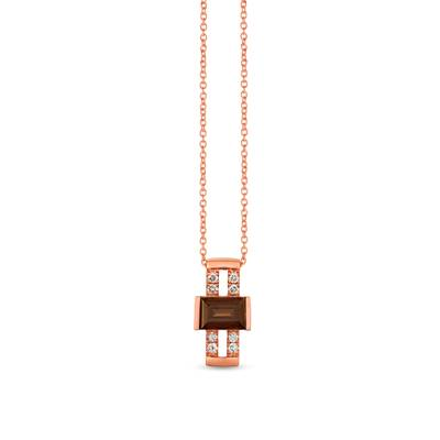 14K Strawberry Gold® Chocolate Quartz® 3/4 cts. Pendant with Nude Diamonds 1/10 cts. | WAUG 28