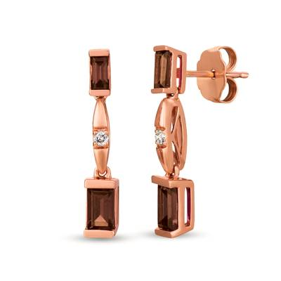 14K Strawberry Gold® Chocolate Quartz® 1/2 cts. Earrings with Nude Diamonds™  cts. | WAUG 29