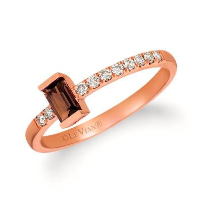 14K Strawberry Gold® Chocolate Quartz® 1/5 cts. Ring with Nude Diamonds 1/8 cts. | WAUG 31