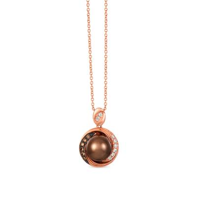 14K Strawberry Gold® Chocolate Pearls®  cts. Pendant with Nude Diamonds™ 1/10 cts., Chocolate Diamonds® 1/15 cts. | WAUG 4