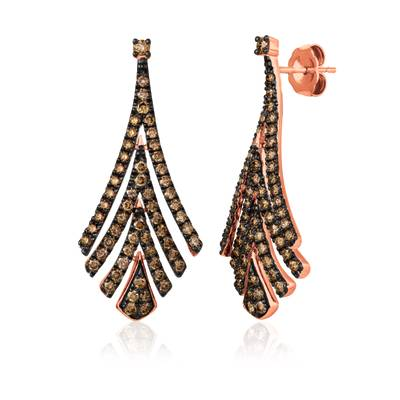 14K Strawberry Gold® Earrings with Chocolate Diamonds® 1  1/3 cts. | WAUG 62
