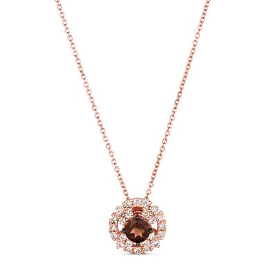 14K Strawberry Gold® Chocolate Quartz® 3/8 cts. Pendant with Nude Diamonds™ 3/8 cts. | WAUG 73