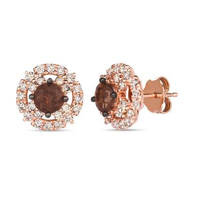 14K Strawberry Gold® Chocolate Quartz® 7/8 cts. Earrings with Nude Diamonds™ 3/4 cts. | WAUG 74