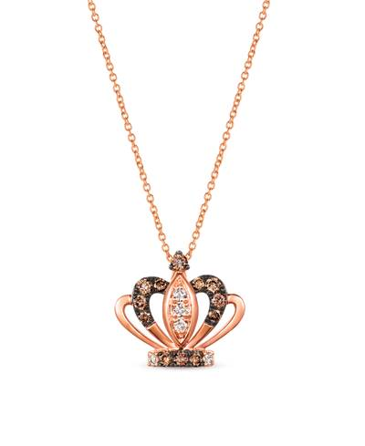14K Strawberry Gold® Pendant with Chocolate Diamonds® 1/4 cts., Nude Diamonds™ 1/10 cts. | WAUL 6