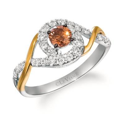 14K Two Tone Gold Ring with Chocolate Diamonds® 1/3 cts., Nude Diamonds™ 3/8 cts. | WAUO 12