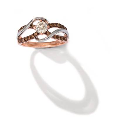14K Two Tone Gold Ring with Nude Diamonds™ 1/2 cts., Chocolate Diamonds® 3/8 cts. | WAUO 14