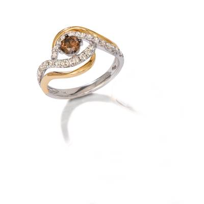 14K Two Tone Gold Ring with Chocolate Diamonds® 1/3 cts., Nude Diamonds™ 3/8 cts. | WAUO 7