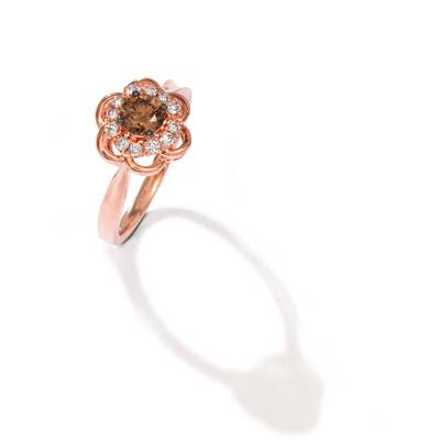 14K Strawberry Gold® Ring with Chocolate Diamonds® 1/2 cts., Nude Diamonds™ 1/5 cts. | WAUS 14
