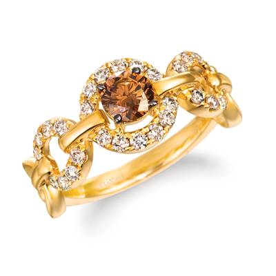 14K Honey Gold™ Ring with Chocolate Diamonds® 1/2 cts., Nude Diamonds™ 3/8 cts. | WAUS 24