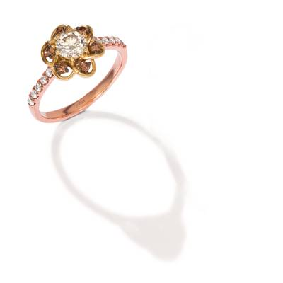 14K Two Tone Gold Ring with Nude Diamonds™ 5/8 cts., Chocolate Diamonds® 1/10 cts. | WAUS 36